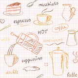 Seamless pattern with hand drawn coffee items Stock Photos