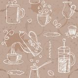 Seamless pattern with hand drawn coffee items Stock Photo