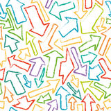 Seamless pattern of hand-drawn colorful arrows. Royalty Free Stock Photos