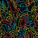 Seamless pattern of hand-drawn colorful arrows. Stock Image