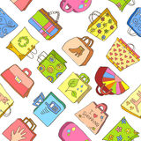 Seamless pattern of hand drawn colorful bags Royalty Free Stock Photos