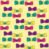 Seamless pattern with hand drawn colorful bows Stock Images
