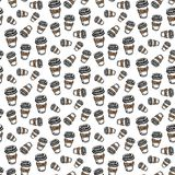 Seamless pattern hand drawn colorful cup of coffee. Doodle black sketch. Sign symbol. Decoration element. Isolated on white vector illustration