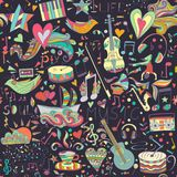 Seamless pattern. Hand drawn colorful musical Stock Photos