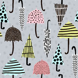 Seamless pattern with hand drawn colorful umbrellas. Childish texture. Great for fabric, textile Vector Illustration. Stock Images