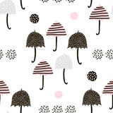 Seamless pattern with hand drawn colorful umbrellas. Childish texture. Great for fabric, textile Vector Illustration Royalty Free Stock Images