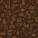 Seamless pattern with hand drawn cookware on the royalty free illustration
