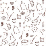 Seamless pattern with hand drawn cookware on the Stock Images