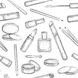 Seamless pattern with hand drawn cosmetics collection Stock Images