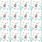 Seamless pattern with a hand drawn cupcakes, balloons and confetti. Stock Photo