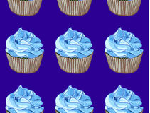 Seamless pattern. Hand drawn cupcakes on blue background. Blue cream. VECTOR. Handdrawn illustration Royalty Free Stock Image