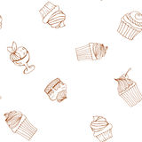 Seamless pattern hand-drawn cupcakes, cakes, menus, invitations, banners. Vector seamless pattern hand-drawn cupcakes, cakes, menus, invitations, banners Royalty Free Stock Image