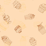 Seamless pattern hand-drawn cupcakes, cakes, menus, invitations, banners Stock Images