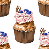 Seamless pattern with hand drawn cupcakes Royalty Free Stock Photography