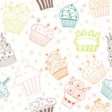 Seamless pattern with hand drawn cupcakes Stock Photography