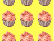 Seamless pattern. Hand drawn cupcakes on yellow background. Red cream. VECTOR. Handdrawn illustration Stock Photo