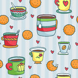 Seamless pattern with hand drawn cups, cookies and hearts Royalty Free Stock Photography