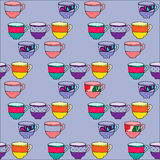 Seamless pattern with hand drawn cups Royalty Free Stock Photography