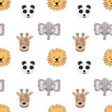 Seamless pattern of hand-drawn cute animals of hot countries for kids. Image of panda, giraffe, elephant, lion on a transparent ba vector illustration