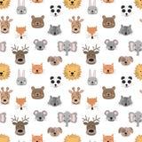 Seamless pattern of hand-drawn cute animals for kids. Bear, fox, mouse, rabbit, panda, giraffe, cat, elephant, dog, deer, lion, ra. Seamless pattern of hand vector illustration