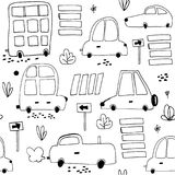 Seamless pattern with hand drawn cute car. Cartoon cars, road sign,zebra crossing  illustration.Perfect for kids fabric Stock Photo