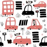 Seamless pattern with hand drawn cute car. Cartoon cars, road sign,zebra crossing  illustration.Perfect for kids fabric,text Stock Image