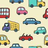 Seamless pattern of hand drawn cute cartoon cars for kids design. Vector illustration wrapping, package, poster, web design, kids vector illustration