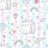 Seamless pattern with hand drawn cute cats unicorn. Cartoon cat vector illustration