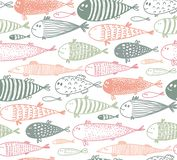 Seamless pattern with hand drawn cute fish in sketch style. Vector decorative endless marine background. Fabric design stock illustration