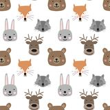 Seamless pattern of hand-drawn cute forest animals for kids. The image of a bear, fox, rabbit, deer, raccoon on a transparent back. Ground. Baby Shower, birthday stock illustration