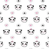 Seamless pattern with hand drawn cute pandas, hearts and stars. Seamless pattern with hand drawn cute pandas, hearts and stars for textiles, wallpapers, gift Stock Photos