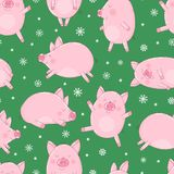 Seamless pattern of hand-drawn cute pigs and snowflakes on an isolated green background. Vector illustration of piglets for the Ne. W Year, prints, wrapping stock illustration