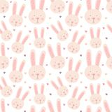 Seamless pattern of hand-drawn cute rabbits and hearts. Vector image of a hare to Valentine`s Day, lovers, prints, clothes, textil vector illustration
