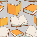Seamless pattern with hand drawn decorative books Stock Images