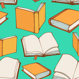 Seamless pattern with hand drawn decorative books Stock Photos