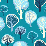 Seamless pattern with hand drawn decorative trees Stock Image