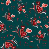 Seamless pattern hand drawn with different hearts, flowers, decorative elements for Valentine`s Day. Vector illustration in vector illustration