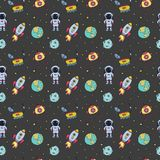 Seamless pattern with hand drawn different space objects vector illustration