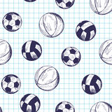 Seamless pattern with hand drawn different sport balls royalty free illustration