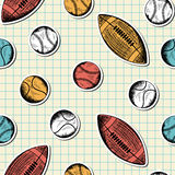 Seamless pattern with hand drawn different sport balls Royalty Free Stock Photos