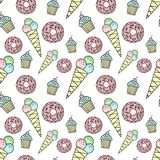 Seamless pattern of hand-drawn donut, ice cream, cupcake. Vector background image for holiday, baby shower, birthday, prints in th