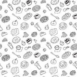 Seamless pattern with hand drawn doodle dessert. black-and-whit vector illustration
