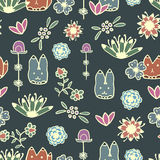 Seamless pattern with hand drawn doodle elements Royalty Free Stock Photos