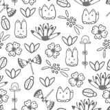 Seamless pattern with hand drawn doodle elements Royalty Free Stock Image