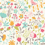 Seamless pattern with hand drawn doodle flowers Royalty Free Stock Photography