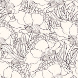 Seamless pattern with hand drawn doodle flowers Royalty Free Stock Photo