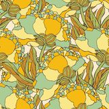 Seamless pattern with hand drawn doodle flowers Royalty Free Stock Images