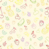 Seamless pattern with hand drawn doodle fruits. Stock Images