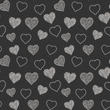 Seamless pattern with hand drawn doodle hearts, vector illustration, Abstract background Stock Photography