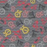 Seamless pattern with hand-drawn doodle icons, back to school theme Stock Photos